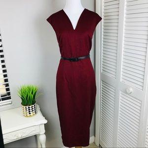 New York & Co Burgundy Red Herringbone Dress